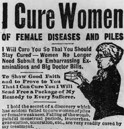 HEMORRHOIDS - An early American ad for the cure of pile / hemorrhoids in ladies