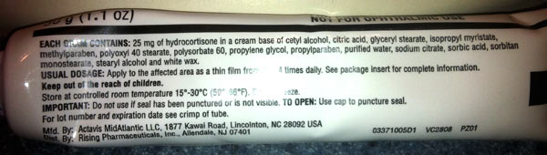 hydrocortisone cream ingredients