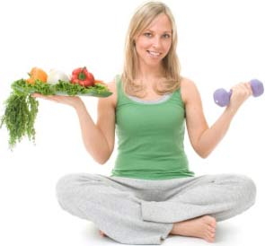 Lady with healthy food and exercise equipment
